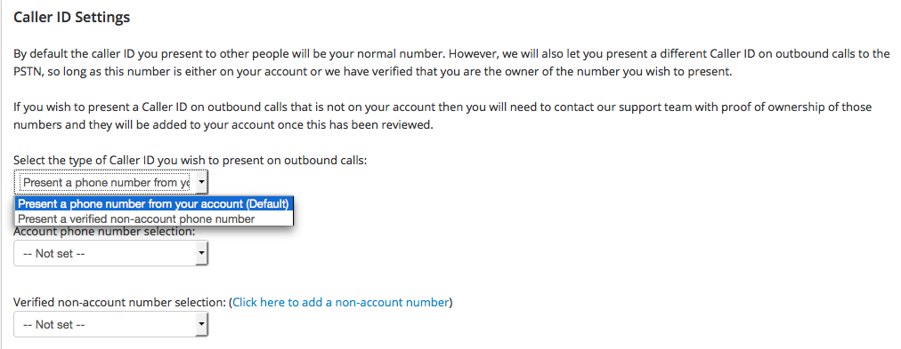 Outbound Caller ID Settings