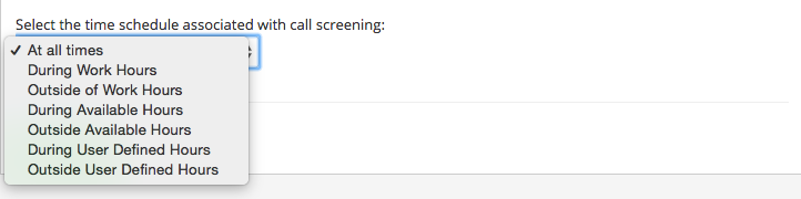 screening option times